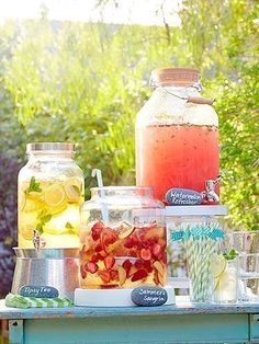 Backyard party ideas and decor - summer entertaining ideas - redbook backyard bbq, bbq party Garden Parties, Outdoor Parties, Outdoor Party Decor, Picnic Parties, Outdoor Weddings, Picnic Drinks, Pool Party Drinks, Bbq Drinks, Beverages