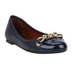 Sapatilha Marinho de Couro e Verniz - Shoestock