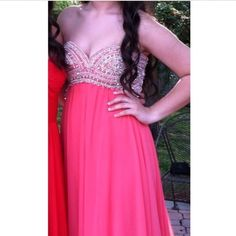 """Coral strapless jovani prom dress pageant gown Only worn once, and got a lot of compliments. My bra size is 34C so it could fit any size around there! Pretty long on me and I'm 5'6"""" plus I wore heels. jovani Dresses"""