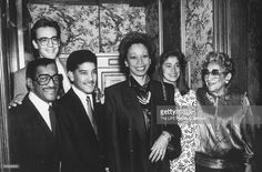 Sammy Davis, Jr. (L) w. (L-R) son-in-law Guy Garner, son Mark, wife Altovise, daughter Tracey and his mother. Show