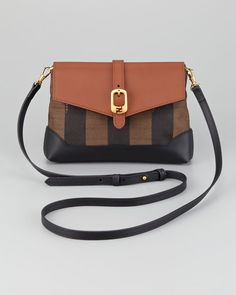 Fendi - Pequin Flap-Top Crossbody Bag, Tobacco/Black