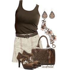 Denim & Chocolate, created by sassafrasgal on Polyvore