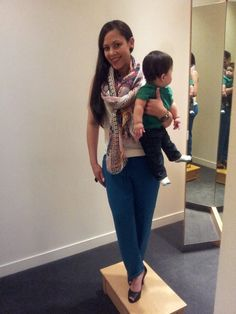 Elsie Jaime at J.Crew trying on a practical but stylish outfit for all moms out there.