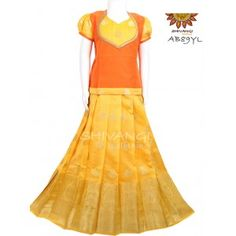 A broad border with beautiful motifs all over the Skirt paired with contrast top with patchwork. Its a perfect traditional wear for your little ones for any special occasion Kids Pattu Pavadai, Traditional Skirts, Kids Blouse Designs, Lehenga Designs, Half Saree, Indian Ethnic, Frocks, Special Occasion, Contrast