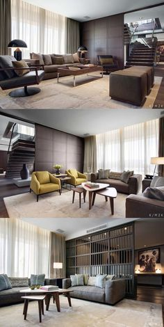 promote the work of people and companies who are a part of the interior and exterior industry.One Hotel, Penthouse Apartment Living Area by Elegant modern design - neutral tones furniture.partition in living roomA good design for your house. Design Living Room, Living Room Interior, Home Living Room, Home Interior Design, Living Area, Interior Architecture, Cozy Living, Apartment Interior, Apartment Design