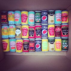 Lucy Sparrow knitted canned goods http://sewyoursoul.co.uk/