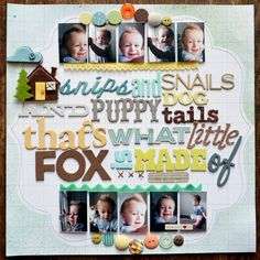 SNIPS AND SNAILS scrapbook layout by Paige Evans