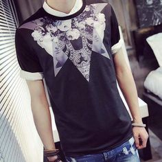 Trendy Round Neck Figure and Floral Irregular Pattern Short Sleeves Men's Slim Fit 3D Printed T-Shirt-13.93 and Free Shipping| GearBest.com