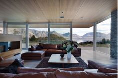 Lovely Living Room Design with Brown Leather Couch