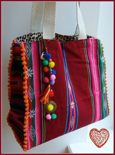 One of a kind Reversible Aguayo Handbag The dimensions are: by approx. Ethnic Bag, Embroidery Bags, Creation Couture, Boho Bags, Fabric Bags, Fabric Basket, Handmade Bags, Gift Bags, Handicraft
