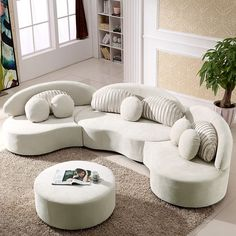 Gebogenes Sofa, Sofa Pillows, Sofa Set, Cushions, Throw Pillows, Couches, L Couch, Cozy Sofa, Ottoman Sofa
