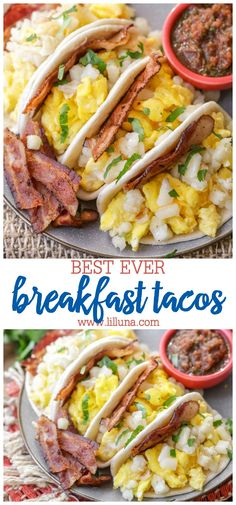 Breakfast Tacos Who doesnt want a delicious taco for breakfast? Some eggs bacon cheese and hash browns all in a soft mini tortilla! These Breakfast Tacos will become your morning mealtime hero! Source by cleanscentsible Breakfast Tacos, Breakfast For Dinner, Breakfast Dishes, Breakfast Time, Best Breakfast, Breakfast Ideas, Dinner Dishes, Paleo Breakfast, Breakfast Casserole