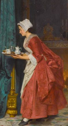 Detail of lady's maid bringing her mistress her morning chocolate from the genre painting In the Morning (1865). Joseph Caraud