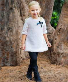 Look at this Pink Furry Bow Tunic & Lace-Up Leggings - Toddler & Girls on #zulily today!