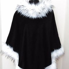 #winter #collection #stylish #black #wool #cape #poncho in fox fur must have piece for your winter wardrobe #unique #chic #outfits #designs  for ladies be #fashionable &#beautiful always combine with your #jeans boots #igers #instafashion #instalov