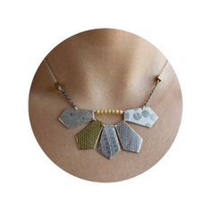 silver and goldplate urban texture necklace by LillyOJewellery