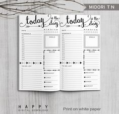 Printable Arrows Midori Daily Planner Inserts, Fauxdori Bullet Journal