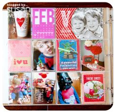 post has ideas on cutting down page protectors  gorgeous, fun, colorful Project Life from #susan_weinroth