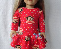 18 Inch Doll/American Girl Dress: Paul Frank Heart Drop Waist Ruffle Dress