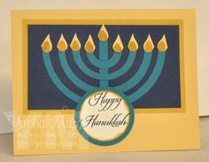 Brenda Quintana came up with a great way to make a Hanukkah card using the Circle Framelits. (You can see her tutorial here and my original card here. Hanukkah Cards, Symbols, Letters, Art, Art Background, Kunst, Letter, Performing Arts, Lettering