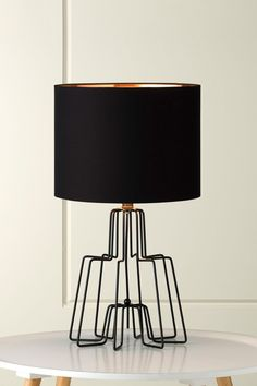 1130 Kink Black Wire Table Lamp with Black Shade and Copper Foil Lining