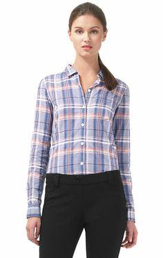 Only $37! THEORY Womens Blue & Pink Kenola Audrey's Plaid Button Up Shirt sz P / XS #shopmodo #modoboutique