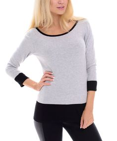 Look what I found on #zulily! Maglia Gray & Black Contrast-Trim Sweater by Maglia #zulilyfinds