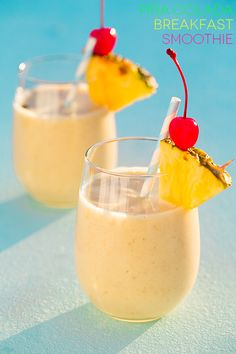 Pina Colada Oat Breakfast Smoothies - Cooking Classy