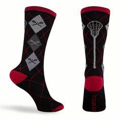 Lacrosse Style Argyle Crew Socks - Red/Black