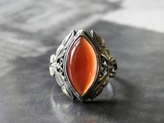 Vintage Sterling Silver Ornate Ring......Carnelian by wulfgirl