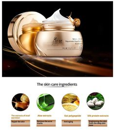 Gold Snail Essence Face Cream Acne Treatment Black Head Remove Skin Care Whitening Moisturizing Face Care Anti Aging