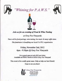 """Nov 2nd in Oroville - """"Whining for P.A.W.S"""" food & wine tasting event to benefit PAWS (Promotion of Animal Welfare Society)"""