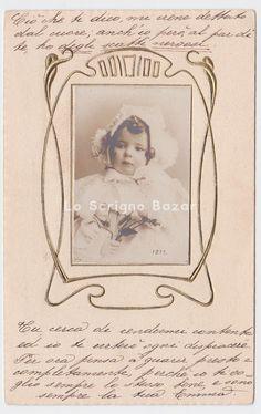 1904 Foto su cartolina bambina art nouveau jugenstil liberty postcard frame gold