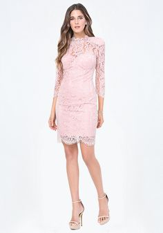Wedding-party dress in a gorgeous lace design finished with scalloped edges. Fitted satin lining has convenient padded bust cups. Shoulder pads. Hidden back hook-and-eye and zip closure. Partially lined.