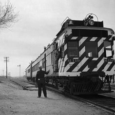 """Local """"Doodlebug"""" train in Isleta, New Mexico. Copy of photo by Jack Delano for the Office of War Information March 1943"""