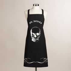 Bring spooky style to your fall kitchen with our black Mr. Bones apron, outfitted with adjustable ties and emblazoned with an eerie white skull. >> #WorldMarket Halloween