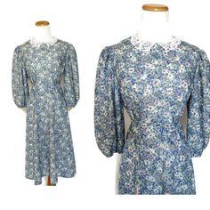 Blue Floral Dress / Lace Collar Dress / Secretary Dress / Midi Dress / Indie Dress / 70s Floral Dress / Office Dress / Size 12 Large by GoodLuxeVintage on Etsy