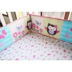 4 Piece Baby Cot Bumper Set Protectors in Owl Pink   Buy New Arrivals