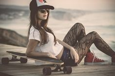 Girls with boards - longboarder