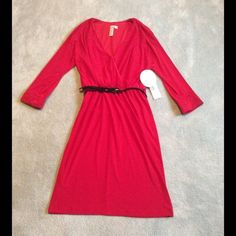 "NWT Red Dress with ""Cold Shoulder"" Sleeves NWT Red Dress with ""Cold Shoulder"" Sleeves and Black Belt, Size Small, (Had a hard time getting good pic of sleeve detail so will probably have to model at some point) Emma & Michele Dresses"