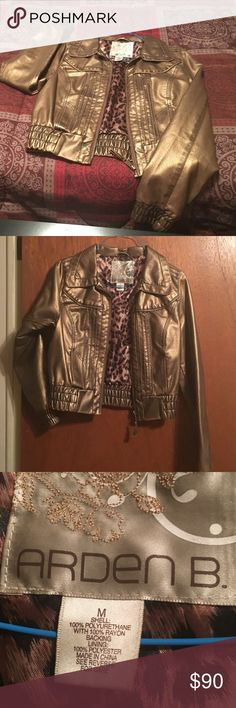 Arden B Metallic Gold Faux Leather Jacket Excellent condition. Worn once. Too big on me. Arden B Jackets & Coats