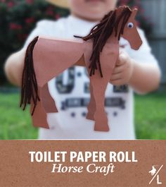 This toilet paper roll horse is the perfect craft projects for kids of all ages. Let's saddle up as we create this cute horse! Horse Crafts Kids, Craft Projects For Kids, Crafts For Kids To Make, Animal Crafts, Western Crafts Kids, Vbs Crafts, Camping Crafts, Horse Template, Cowboy Crafts