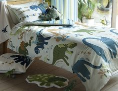 This dinosaur themed bedding set features lots of playful prehistoric dinosaurs from Diplodocus, Brachiosaurus, Tyrannosaurus Rex and lots more. The pillowcase features one of the dinosaurs telling a joke! Making bedtime a joy and lets the imagination run wild. It is sure to impress any fan and their friends.    This single duvet cover measures 135cm x 200cm and the pillowcase measures 50cm x 75cm       This one fits a standard single size duvet and pillow    Order yours today!   Price…