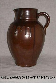 Vintage European Pottery Pitcher Jug Brown Drip Glazed Studio Art Europe