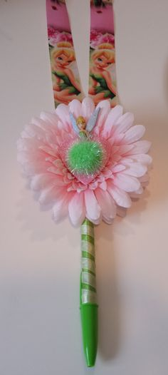 Tinkerbell Disney Autograph Flower Pen by GigisFlowerFancy on Etsy