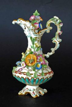 Antique porcelain flower encrusted scent bottle with stopper by Meissen, Germany