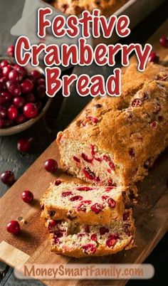 This delicious cranberry bread recipe is full of festive fall flavors. Delicious!