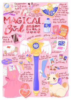 "brontide-art-moved: ""  ♡ Magical Girl Essentials! ♡ This was really fun to do, I kinda made the drawing up as a went and although it took a lot longer it's nice to just get and idea and put it on the..."