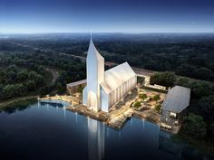 As worshipping practices evolve to reflect the modern world, spaces of religious veneration are being tailored to reflect the needs of modern worshippers. Cologne based architecture firm RSAA recently unveiled designs for a new church complex in China. Architecture Wallpaper, Sacred Architecture, Church Architecture, Religious Architecture, Modern Architecture, In China, Central Building, China Image, Modern Church