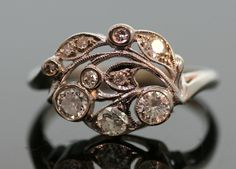 ring - Antique 1930s Diamond Ring-14k White Gold.